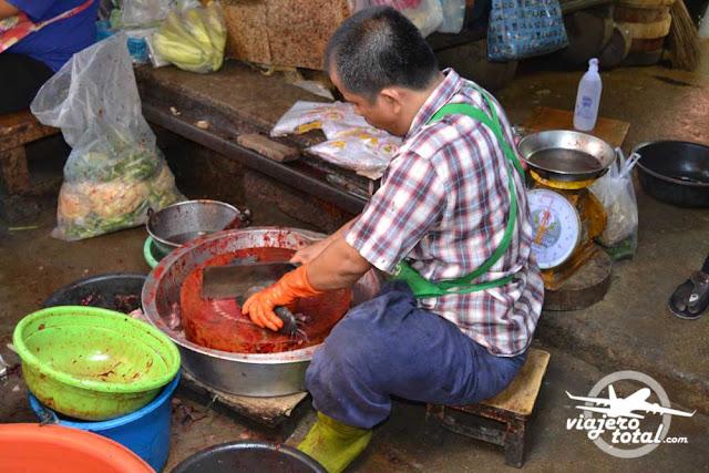 Tailandia Bangkok Mercado del Tren