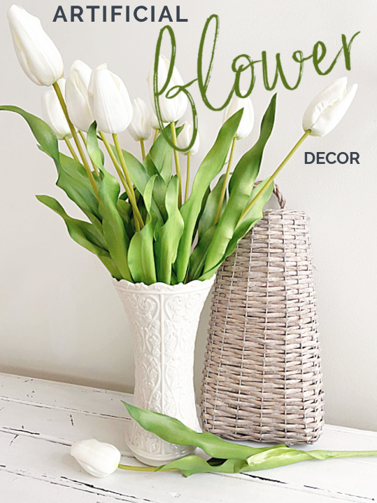 artificial flowers in a vase with Pinterest overlay