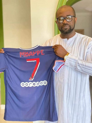 GFA President receives signed PSG jersey from Kylian Mbappé