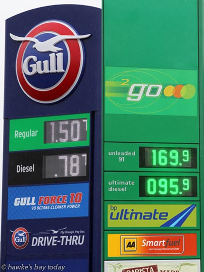 Petrol prices in Hastings ranged from 150.7 cents at Gull Karamu, to 169.9 cents at BP, Railway Rd, Hastings. The Gull special lasted till 12 noon 22 September. photograph