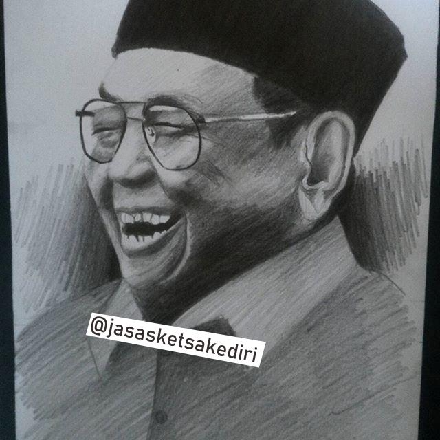 Lukisan Sketsa Pensil Wajah Gus Dur Hitam Putih Realis 2019 Di