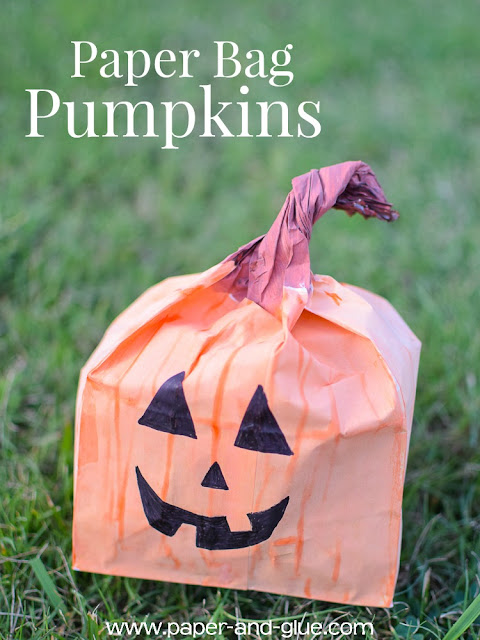 Paper Bag Pumpkins- easy and fun Halloween decor that kids can make.  Leave them plain as a craft for fall, or add a jack-o-lantern face as a Halloween activity.  Fun for preschool, kindergarten, or elementary.