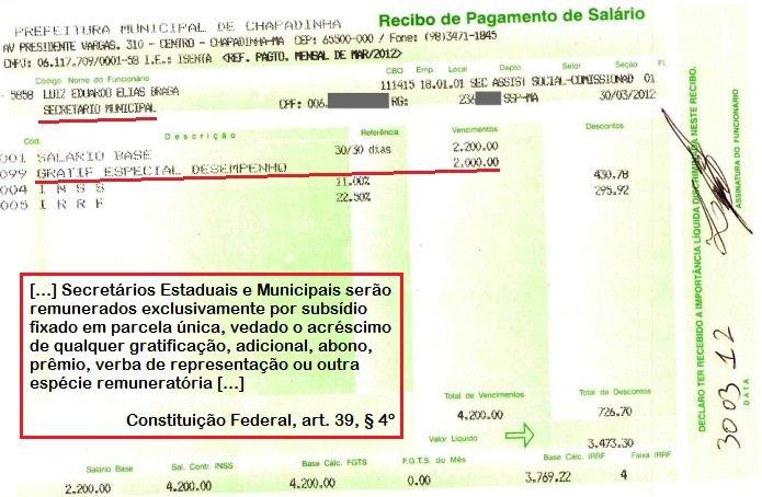 Chapadinha: Contracheque de Eduardo Braga constando gratificação ilegal