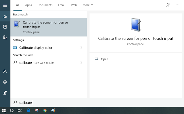 Calibrate the screen for pen or touch input