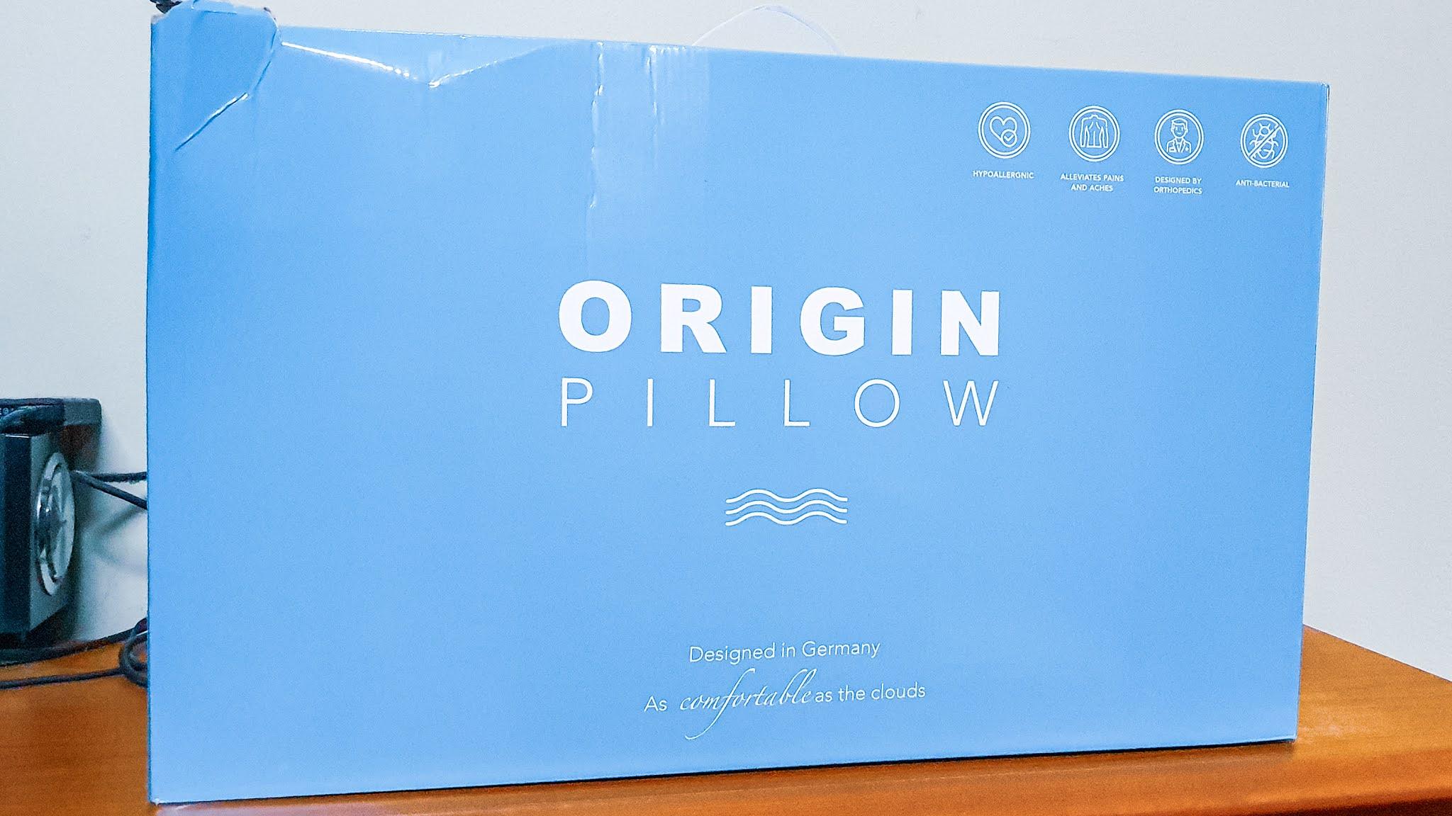 Origin Mattress pillow arrives in a big blue box