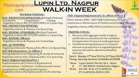 Lupin Ltd walk-in interview for multiple Position on17th June to