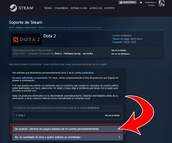 Eliminar Dota 2 de la Biblioteca de Steam