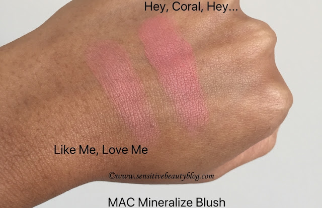 MAC Mineralize blushes Like me, Love me and Hey, Coral, Hey... dark skin swatches