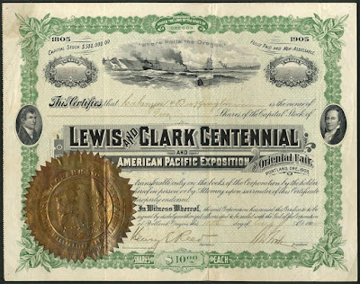 This Lewis and Clark Centennial and American Pacific Exposition and Oriental Fair share certificate shows vignettes of Lewis and Clark