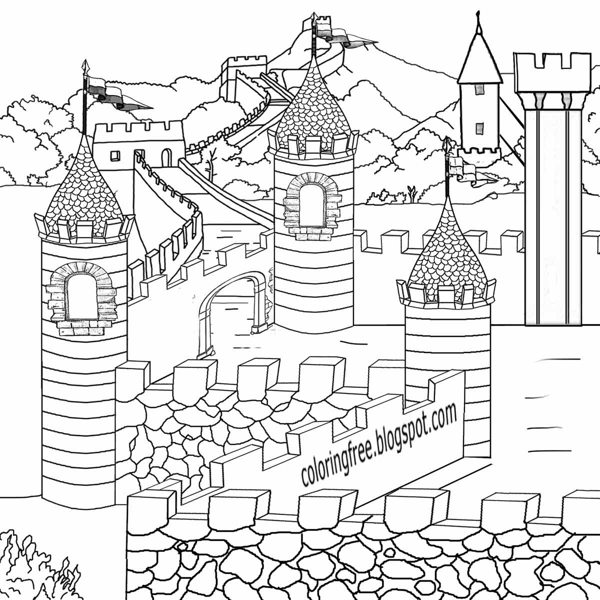 Printable coloring pages for teenagers - Legendary British Leader King Arthur Camelot Magical Castle Medieval Coloring Pages For Teenagers