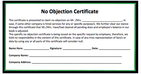 Doc600730 Format of No Objection Certificate from Employer No – Noc Sample Letter from Employer