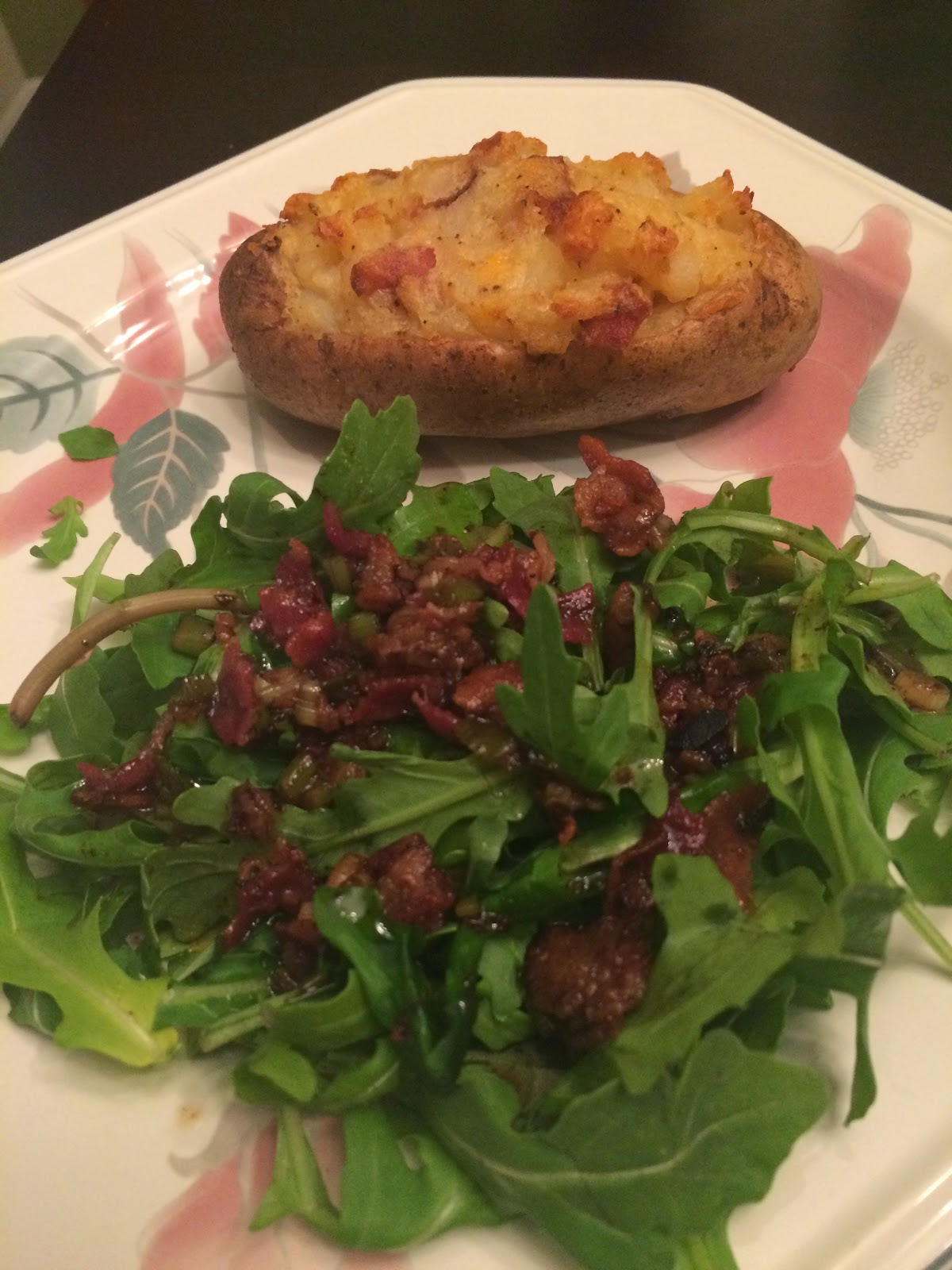 Twice Baked potatoes and arugula salad with warm bacon dressing