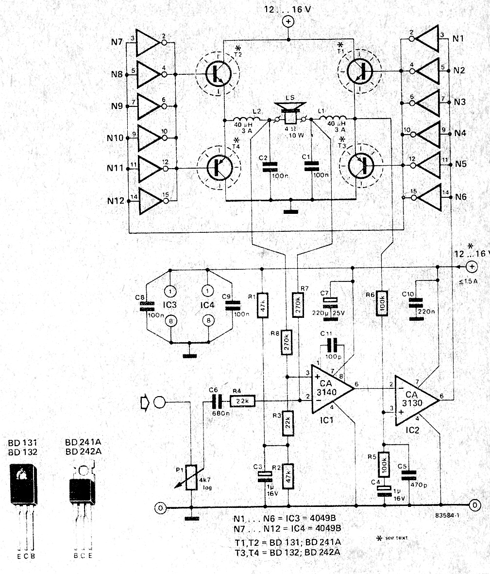 Simple Amplifier Using With Mje340 Tip3055 Schematic
