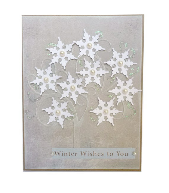 Gray Winter Wishes Embossed Tree Card with Punched Snowflakes and Glitter