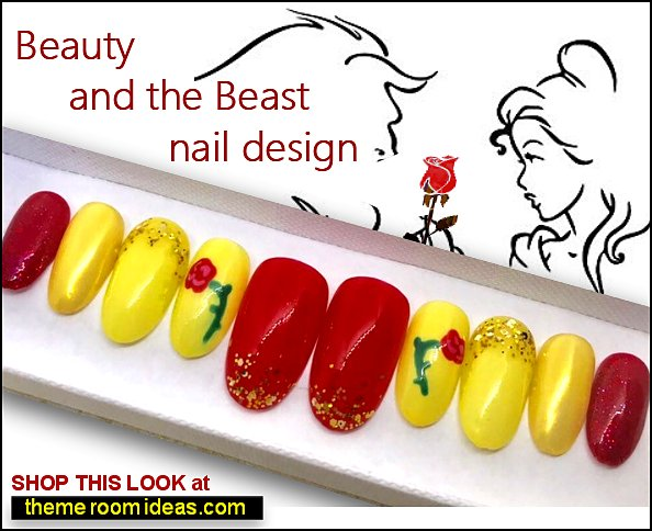 Beauty and the Beast Beauty and the Beast False Nails Beauty and the Beast Press On  Beauty and the Beast Gel Nail Art