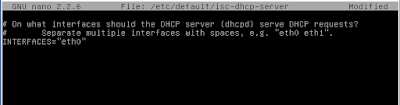 konfigurasi interface dhcp server
