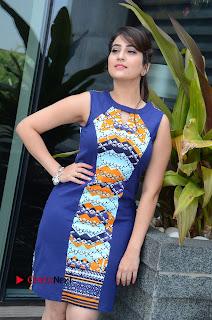 Actress Anchor Manjusha Pictures in Blue Short Dress at Jaguar Movie Success Meet .COM 0047.jpg