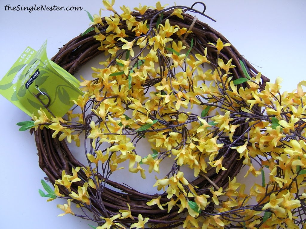 Two Minute, No Glue, Cheap Spring Wreath