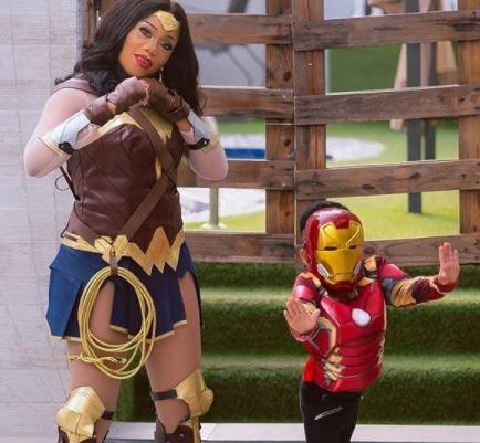 Toyin Lawani & Son Dress Up As 'wonder Woman' & 'iron Man'