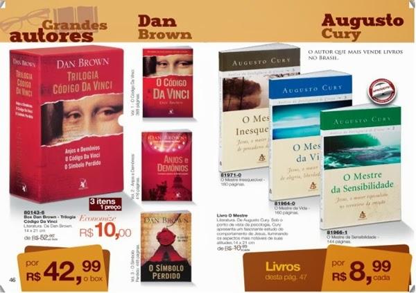 Livros Dan Brown, O codigo da vinci, Anjos e Demônios, O símbolo Perdido, Augusto Cury, Avon, mais barato, com desconto