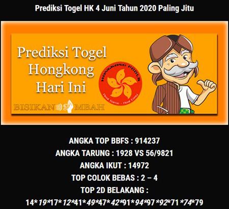 Prediksi HK Malam Ini 04 Juni 2020 - Bisikan Mbah