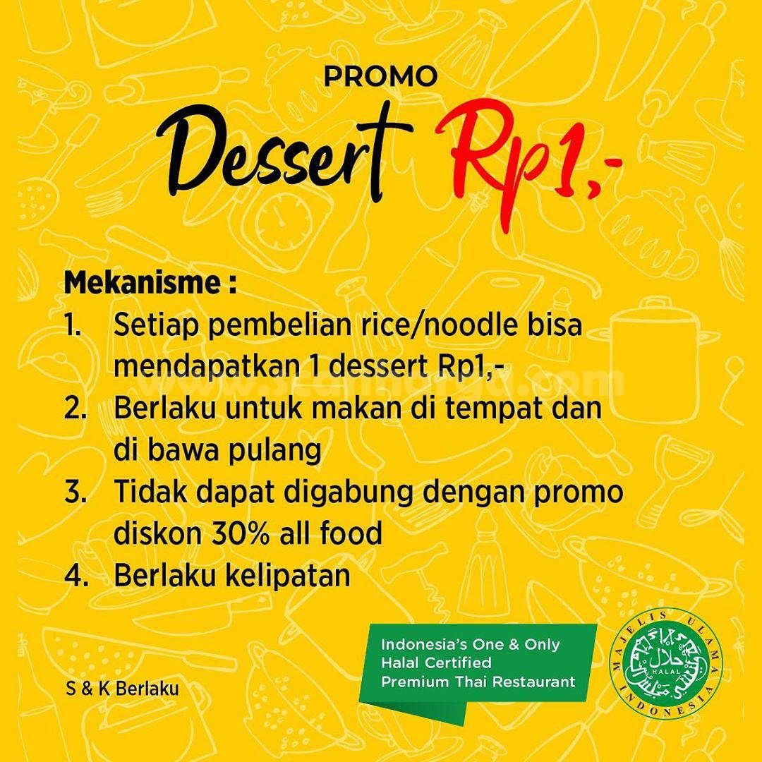 Promo Thai Alley Kebon Sirih Harga Spesial Dessert cuma Rp 1,-