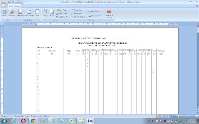 Format rekapitulasi pelaksanaan supervisi kelas