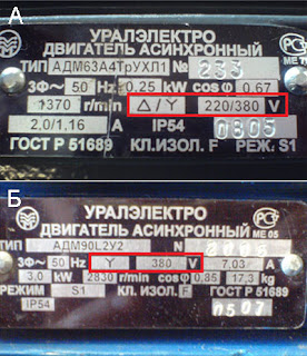 табличка (шылдик) трехфазного электродвигателя