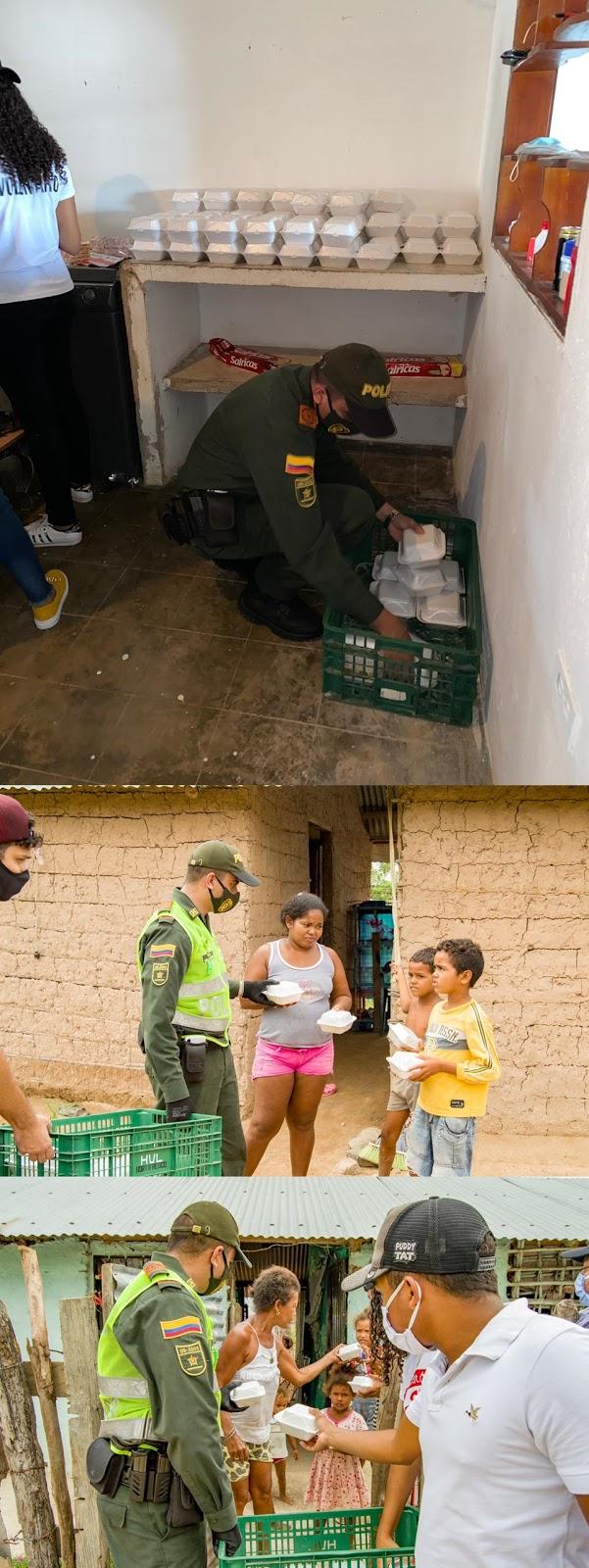 Patrullero en Chiriguaná organizó recolecta para darle alimentos a los más necesitados