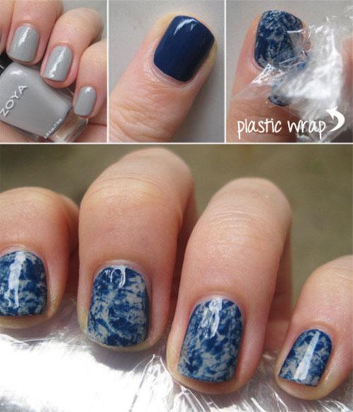 Marble Nail Art Blue: Lindisima Blog: Diseño De Uñas Marmolado Con Plástico