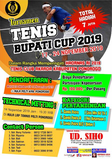 Turnamen Tenis Bupati Cup 2019 Ponorogo