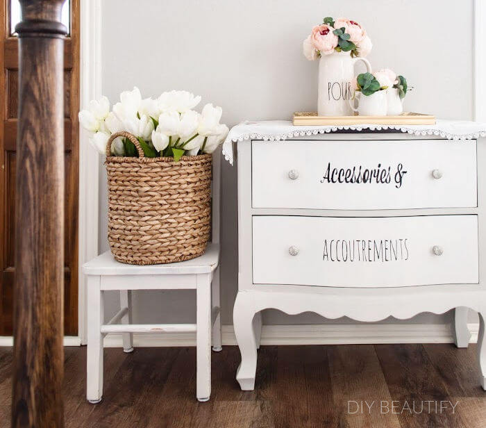 white painted entryway dresser