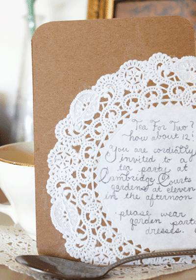 Emily Gilmore Designs: DIY Rustic Doily Invitations
