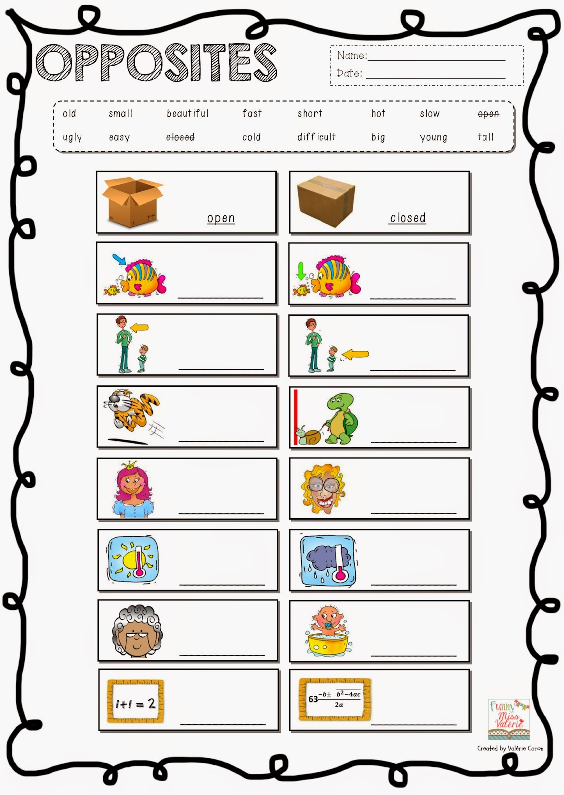 Opposite Adjectives Worksheet