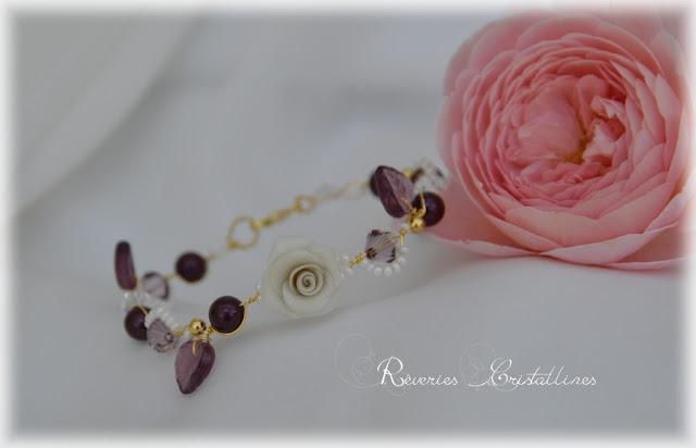 bracelet roses et cristaux mariage