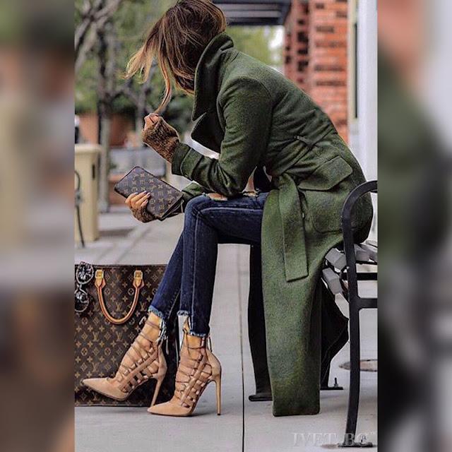 Γυναικείο  πράσινο παλτό SILVESTRA