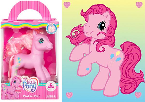 Pônei Pinkie Pie da geração 3 na caixa e ilustração ao lado