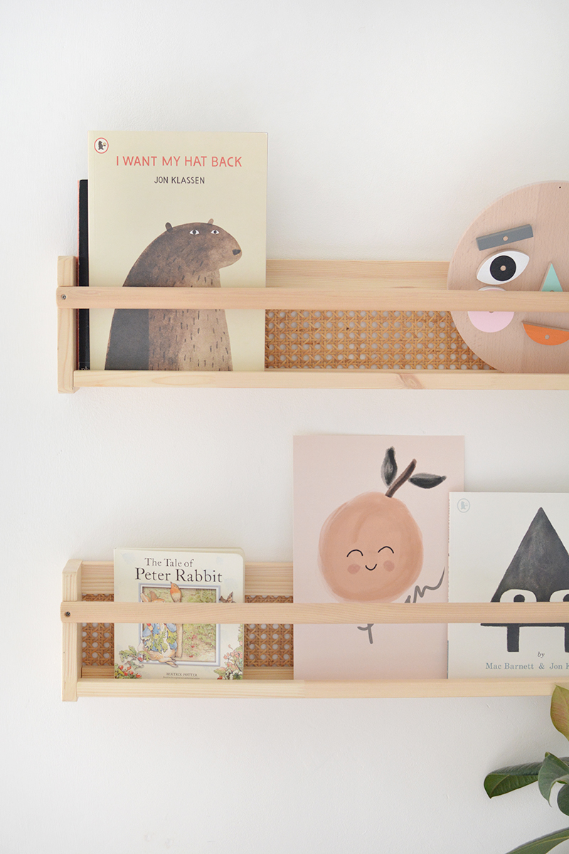 ikea hack cane bookshelves for nursery