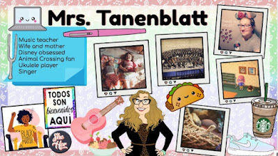 Example of an identity slide featuring photos and graphics about Mrs. Tanenblatt