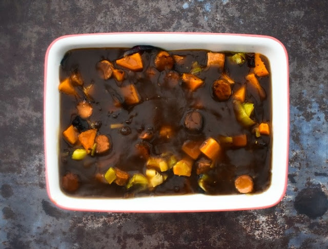 Step 7 - vegetables and sausages in gravy