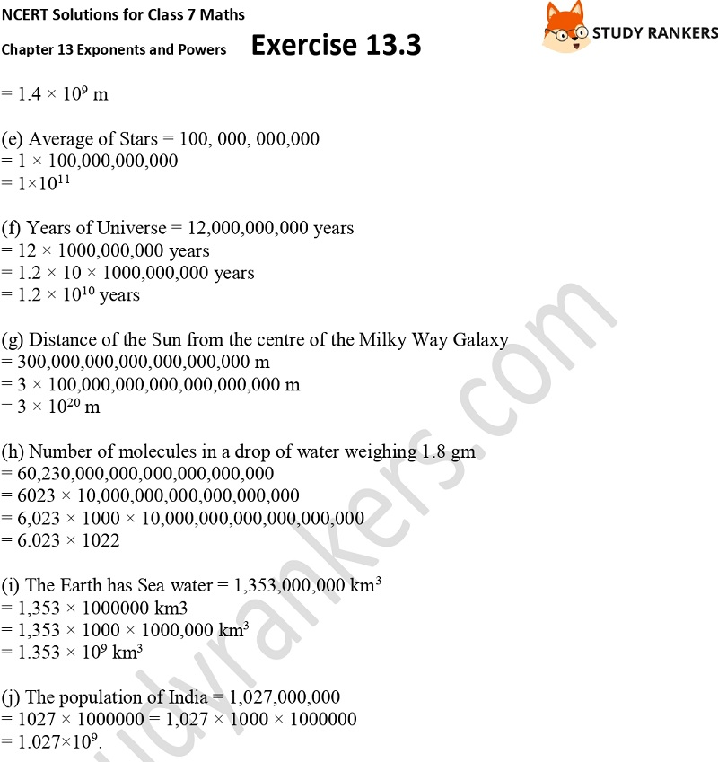 NCERT Solutions for Class 7 Maths Ch 13 Exponents and Powers Exercise 13.3 Part 4