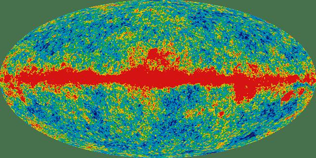 صورة WMAP  الميكروية للكون الجنيني بعد 380 الف سنة فقط من الانفجار الكبير