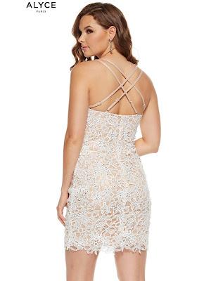 Scoop Neckline Alyce Paris Graduation Dress Daimond White color