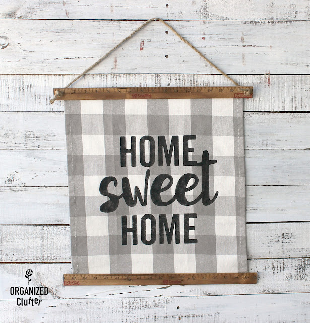 A Fun & Easy Buffalo Check Tea Towel Stenciled Sign #yardstick #buffalocheck #teatowel #stencil #sign #homesweethome #farmhouse #farmhousestyle #hobbylobby