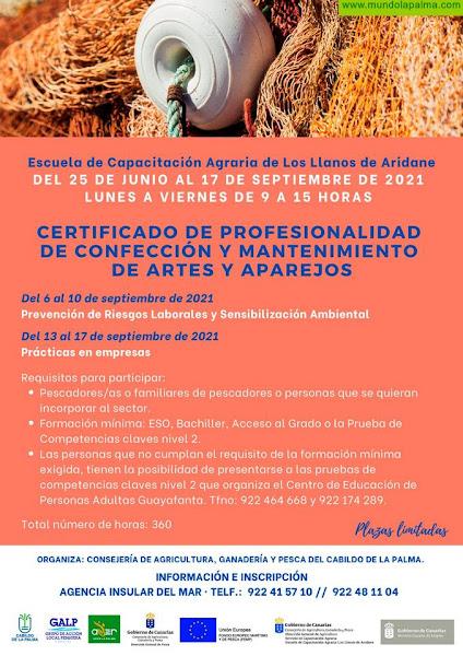 El Cabildo organiza en La Palma el primer curso que se imparte en Canarias para obtener el Certificado de Artes y Aparejos