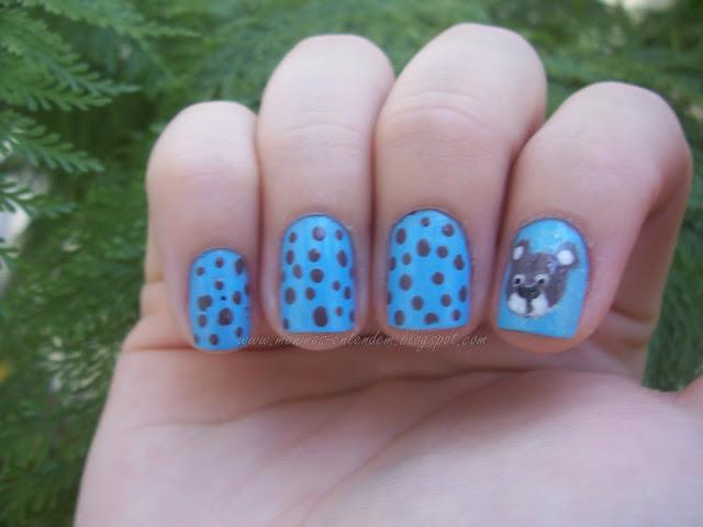 unhas de ursinho azul e marrom