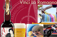 Logo Amarcord ''Vinci la Romagna'': in palio buoni ristorante, zaini, biglietti MotoGP, premi Brandina, Aquafan e..