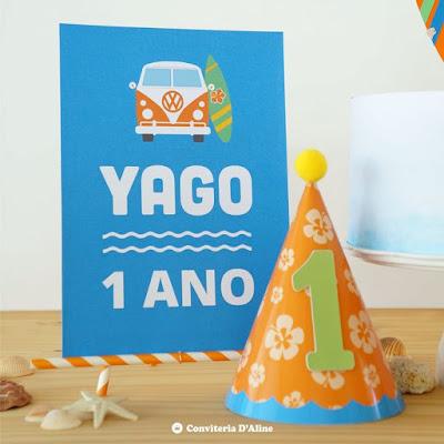 festa surf chapeuzinho poster decoração