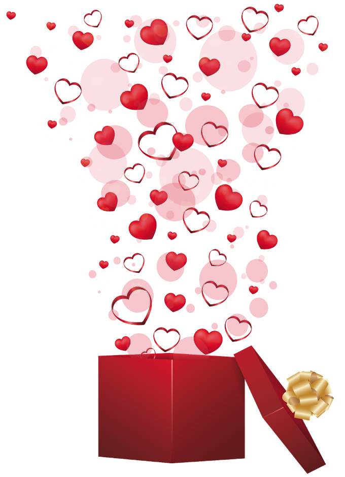 Valentine's Day Gift Heart, Red Gift with Hearts, exploding heart on open gift box illustration, love, wish, wedding png free png