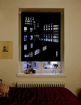 Curtains Blackout with a panorama of the night city